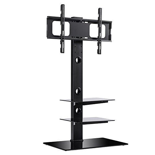 RFIVER Black Floor TV Stand with Universal Swivel Bracket Mount for 32 to 65 inch Flat/Curved Screen TV, Adjustable Height and Three Tempered Glass Shelves TF2002 by Rfiver