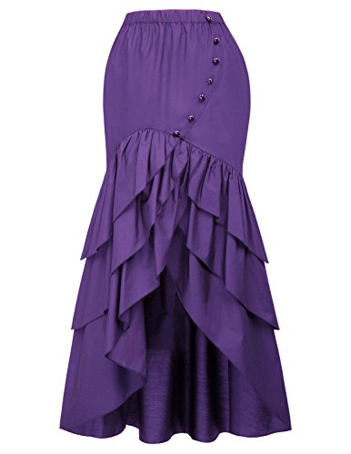 Belle Poque Vintage Steampunk Gothic Victorian Ruffled High-Low Skirt M Purple