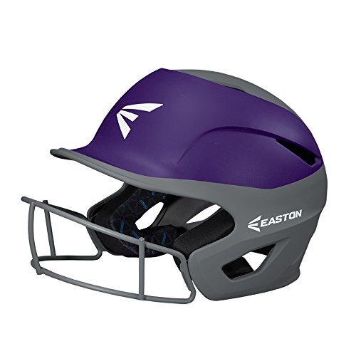 itch Softball Batting Helmet with Mask | S / M | Matte Charcoal Purple | 2019 | Multi-Density Impact Absorption Foam | High Impact Resistant Lightweight Shell | BioDRI Liner ()