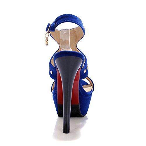 Fashion Heel - Zapatos con correa de tobillo mujer Azul