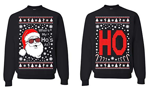 Tutiinca Where My Ho's at, Christmas Couples Sweaters, Ugly Christmas Sweatshirt, Funny Christmas Matching Sweatshirt (Man L - Women L) Black