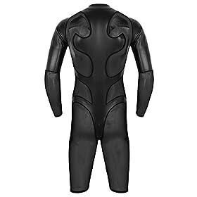 - 41PzouxK7oL - iEFiEL Men's Faux Leather and Mesh Splice Long Sleeve Zipper Catsuit Zentai Bodysuit Unitard