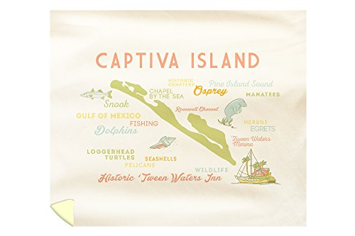 Lantern Press Captiva Island, Florida - Typography and Icons 56109 (88x104 King Microfiber Duvet Cover)