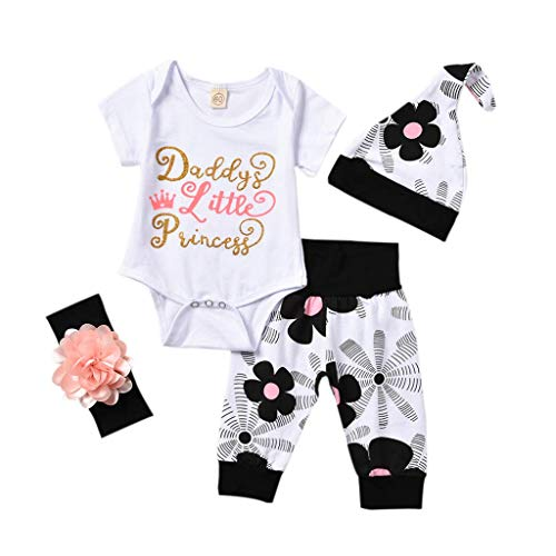 4 pcs Baby Girls Pants Set Newborn Infant Toddler Letter Romper Arrow Heart Pants Hats Headband Clothes (White 02, 12-18 Months)