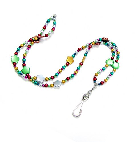 Linpeng Multi-Purpose Beaded Lanyard Women's ID Badge, Necklace, Key Holder Or Bracelet with Magnetic Clasp, Metallic Rainbow