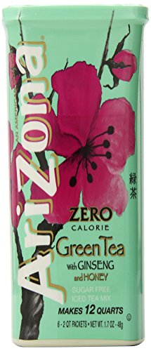 Sweet Tea Honey Green (AriZona Sugar Free Green Tea with Ginseng & Honey Iced Tea Mix, 2 QT Canister (Pack of 4), Low Calorie Single Serving Drink Powder Packets, Just Add Water for Deliciously Refreshing Iced Tea Beverage)