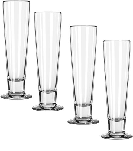 Circleware Philosophy Set of 4, 14 Ounce Tall Footed Pilsner Beer Glasses, Limited Edition Beer Glass Beverage Drink Cups Glassware