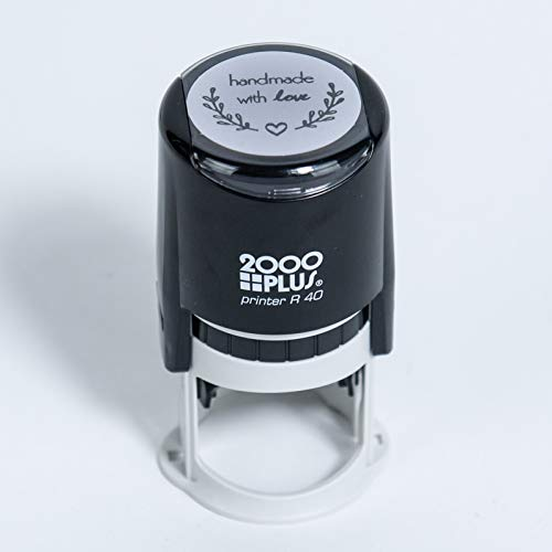 Handmade with Love Self-Inking R40 Round Stamp with Heart and Olive Branch, 1 1/2