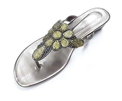 LEMEX Grey Thong Slipper For Women