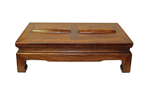 (Display Cabinet & Stand Brown Rosewood Simple Oriental Rectangular Rolling Bar Footrest Table Acs3201)