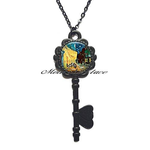 Charm Key Necklace, Cafe Terrace art Key Necklace, art jewelry bistro jewelry restaurant Key Pendant restauranteur's gift Paris travel, Friendship Jewelry,Birthday gift-ZE017 (Black) -