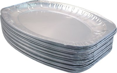 100 x EXTRA-LARGE FOIL PLATTER DISH - 56cm x 37cm disposable foil catering tray
