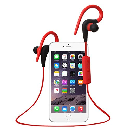 Bluetooth Headset TOOPOOT Wireless In-Ear Stereo Sports Headphones (Red1)