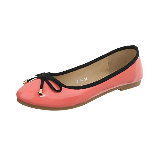 Classiques Ballerines Rot Bloc 9740 design Chaussures Femme Ital nfPOvx