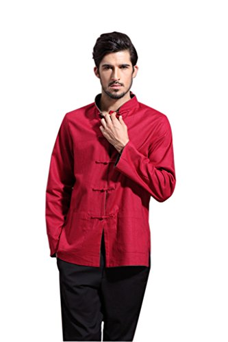 Mens Chinese Kung Fu Long Sleeve Flax Tang Jacket Double Sided Red Green Size XXL by Master J