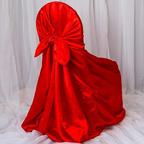 Efavormart 50pcs Red Silky Satin Universal Chair Covers Fits All Type of Chairs Event Dinning Slipcover for Wedding Party Banquet