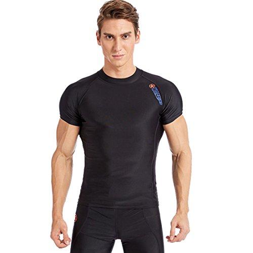 SABOLAY Herren Rash Guard Shortsleeve UV Shirt Sun Protection UPF 50+ Swimshirt schwimm Shirt Watersport Rash Vest Schwarz