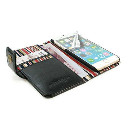 Alston Craig Vintage echt Leder Brieftaschen Case Hülle Tasche für Apple iPhone 7 (gratis Bildschirmschutz) - schwarz