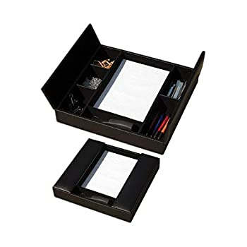 Image of Craft & Sewing Supplies Storage Dacasso Classic Black Leather Enhanced Conference Room Organizer