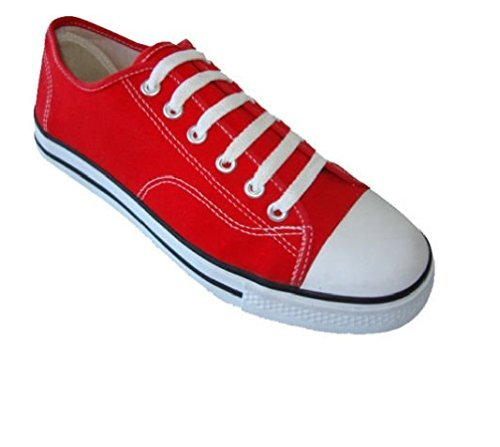 Mens Classic Canvas Lace Up Shoes Sneakers 4 Colors Available (11, Red 327M)