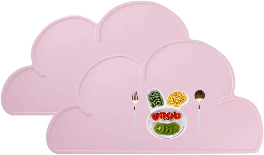 Jorsnovs Set of 2 Cloud Shape Spill Proof Non Slip Eco-Friendly Silicone Placemats for Kids Babys Toddlers Washable Plate Mat Set Heat Resistant Table Mats 18.9x10.6inch