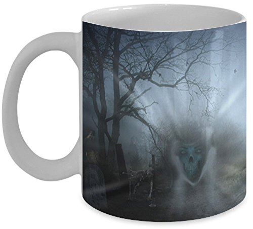 Halloween Mug \ Cemetery Ghosts \ Mugs With Images Vitazi Kitchenware, 11 oz Ceramic Coffee Mug - Full Wrap Image, Ghouls, Spooky Forest (White) ()