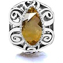 Jovana Sterling Silver Citrine November Birthstone Bead Charm ,Fit Pandora Bracelet