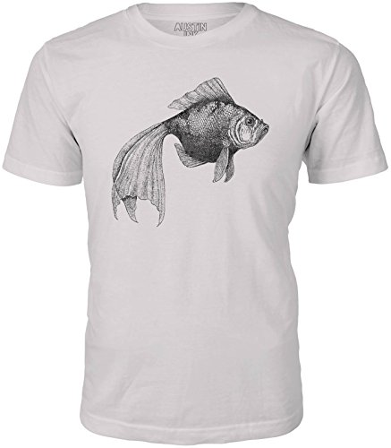 Austin Ink Apparel Longtailed Goldfish Short Sleeve Cotton Mens T-Shirt (Cream, ()