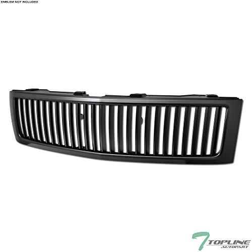 Topline Autopart Matte Black Vertical Front Hood Bumper Grill Grille ABS For 07-13 Chevy Silverado 1500 ()