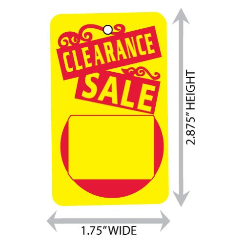 """Large (1.75"""" X 2.875"""") Promotional Clearance Sale Merchandise Tag (Unstrung). Case of 2,000 Tags."""