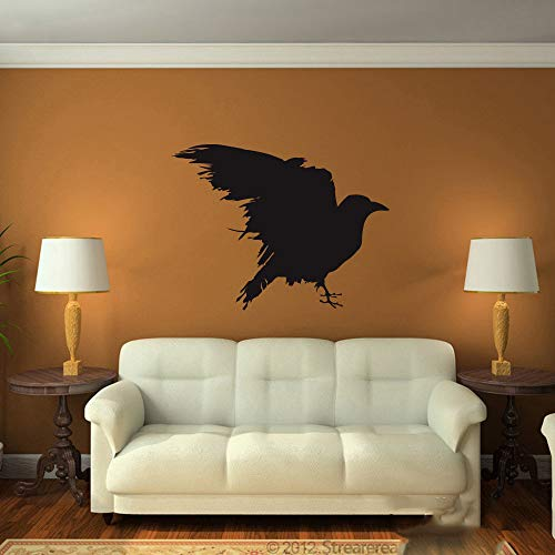 nimnae Quotes Wall Stickers Removable Vinyl Art Decal Raven Bedroom Kids Room Game of Thrones as The Author Gift Raven Bird Living Room]()