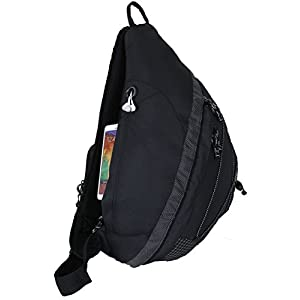 "20"" HBAG Sling Backpack Single Strap Shoulder Bag, Audio & Bottle Pocket, Black"