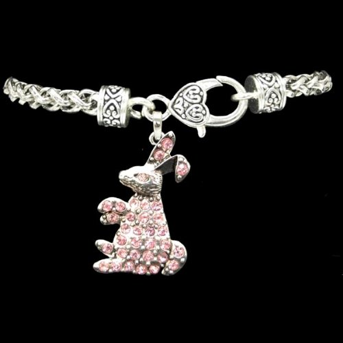 [EASTER BUNNY Charm Bracelet is Embellished with Pink Crystal Rhinestones. Heart Lobster] (Who Is Peter Cottontail)
