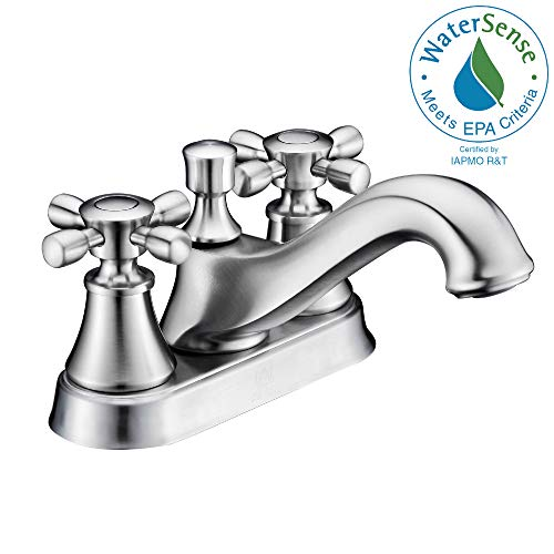 ANZZI Major 4 in Centerset Twin Dual Handle Two Hole Mid-Arc Bathroom Sink Faucet in Brushed Nickel | Vessel Basin Sinks Deck Mounted cUPC Lavatory Faucet | Valve included | L-AZ006BN ()