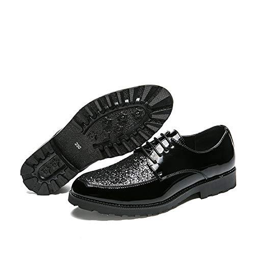 Juvenil Black LYZGF De Cómodo Zapatos Moda Moda Hombre con Cordones Casual Cuero qPxrZPzwER