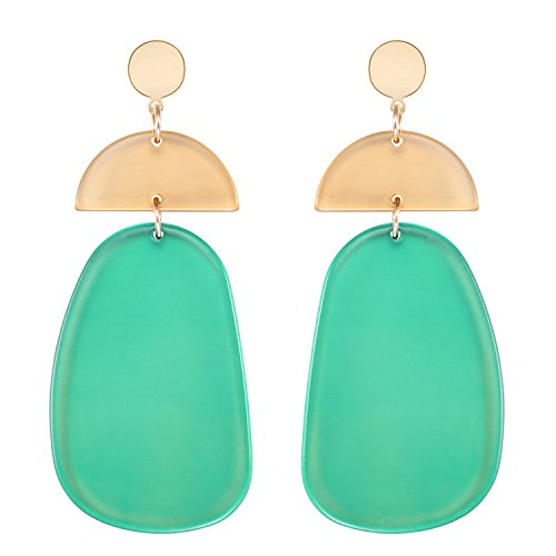 LILIE&WHITE Transparent Geometric Acrylic Hanging Earrings For Women (Acrylic White Earrings)