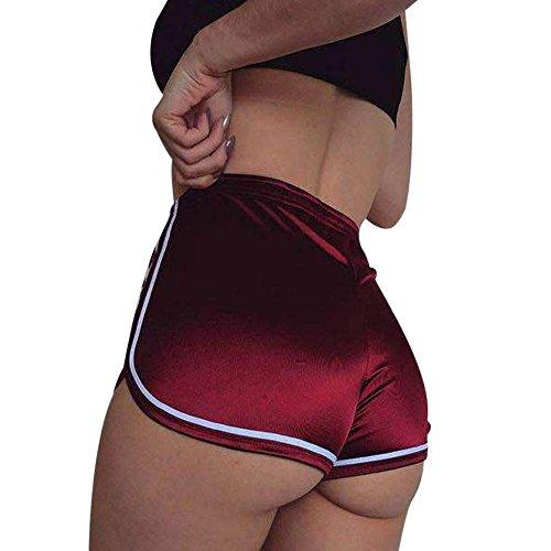 Women Summer Sports Shorts Daoroka Sexy High Waist Elastic Yoga Running Casual New Fashion Pocket Hot Pants (L, Red)