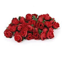 50pcs DIY Artificial Rose Bud Flower for Home Wedding Garden Decoration (Red)