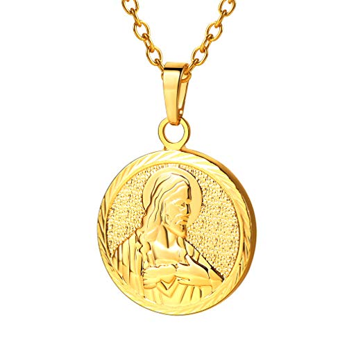 (FaithHeart Christian Jesus Pendant Chain Fashion 18K Gold Plated Religious Jewelry Jesus Necklace (Gold))