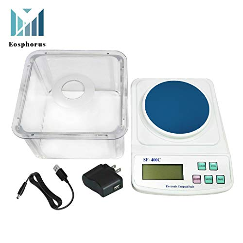 600g/0.01g School Scale Lab Laboratory Balance Digital Scale for School with Round Weighing Pan, Windshield, and USB Charger AC/DC Adapter