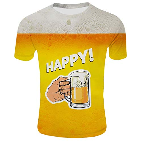 4cf1308f83ad Men T-Shirt Casual Summer 3D Beer Print Hipster Short Sleeve Slim Fit Tee  Tops Blouse (M, Yellow 3)
