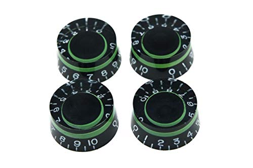 Dopro 4x Metric LP Black with Green Custom Guitar Speed Dial Knobs Control Knobs for Epiphone Les Paul/Import Guitar Bass w/Coarse 5.8mm Split Pots