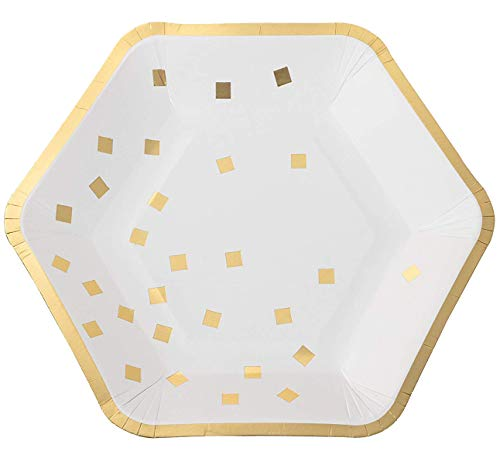 Disposable Plates - 24-Count Paper Plates, Hexagon Plates, Party Supplies for Appetizer, Lunch, Dinner, and Dessert, Gold Foil Confetti and Edge, 9 x 8 Inches