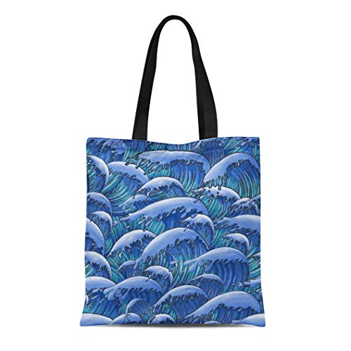 (Semtomn Canvas Tote Bag Shoulder Bags Asian Blue Antique Oriental Japanese Great Wave in Vintage Women's Handle Shoulder Tote Shopper Handbag)