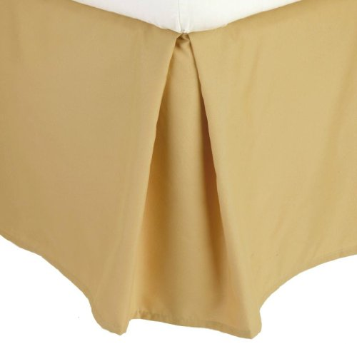 Price comparison product image Clara Clark Premier 1800 Collection Solid Bed Skirt Dust Ruffle, Full, Camel Gold
