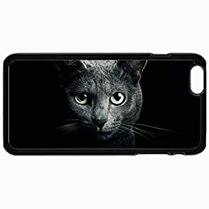Customized Cellphone Case Back Cover For iPhone 6 Plus, Protective Hardshell Case Personalized Cat Gray Rock Russian Blue Eyes Green Eyes Black Cats Black