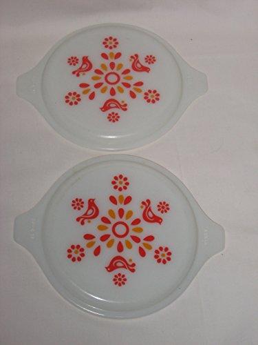 (Set of 2 - Vintage Pyrex Milk Glass Friendship Pattern Replacement Lids - 20-C 16 )