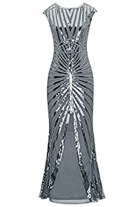 Metme Formal Evening Dress 1920s Sequin Mermaid Formal Long Flapper Gown Party
