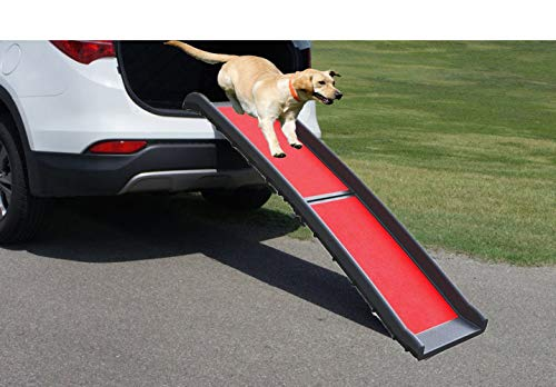 ZLin Bi-Fold Pet Ramp Collapsible Portable Dog Ramp Support Up to 200lbs, 62 in, Great for Cars, Vans, SUVs, and Trucks, Outdoor Indoor for Old Injured Pets(Red)