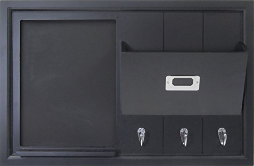 DesignOvation Dagny Decorative Home Organizer 21x14 with Chalkboard, Mail Holder, Key Hooks, Black (208438) by DesignOvation